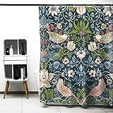 William Morris Duschvorhang, Erdbeerdieb Badvorhänge Wasserabweisende Anti-Schimmel Polyester Dekorative Duschvorhänge Art Deco Mit 12 Vorhanghaken Maschine