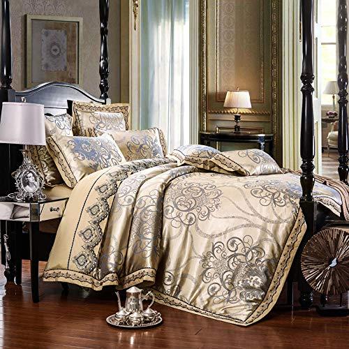 geek cook Complete Bedding Sets Royal Bedding set Stain Jacquard Cotton Lace Double King Queen size Bed sheet set Duvet cover Fit sheet Pillowcase 4/6pcs-color 1_Queen 6pcs