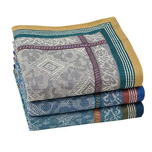 Houlife 100% Cotton Men's Stripe Soft Checkered Pattern Handkerchiefs Assorted Hankies 3 Pieces 17x17