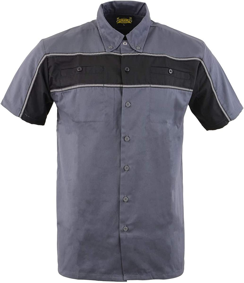 Biker Clothing Co. MDM11671.149 Men's Grey and Black Short Sleeve Mechanic Shirt with Reflective Material