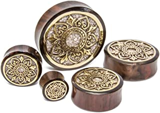 Elementals Organics Sono Wood Plug for Ear – Ear Gauge with Brass Indonesian Flower and Marble Inlay