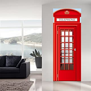 Fymural 3D Telephone Booth Door Wall Mural Wallpaper Stickers Vinyl Removable Decals for Kid Baby Room Decoration 30.3x78.7,Red