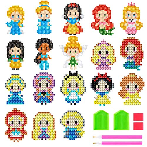 18 Pcs Cute Princess 5D DIY Diamond Painting Stickers Kits for Kids & Adult Beginners,Paint with Diamonds Kits Arts Crafts Easy to Paint Best Gift