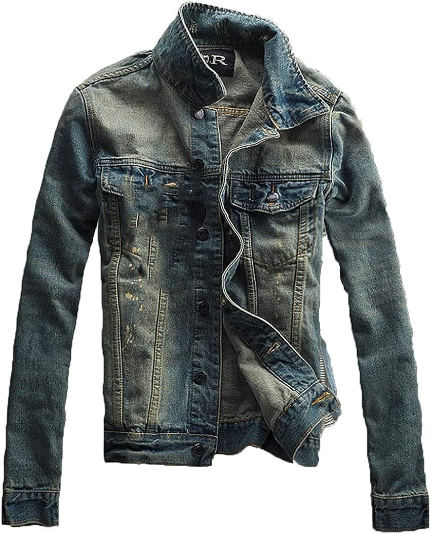 Men Ripped Jeans Jackets,Washed Patchwork Distressed Denim,Man Slim Fit Streetwear Hiphop Vintage Jacket
