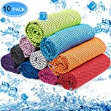 MENOLY 10 Pack Cooling Towel Ice Towel Workout Towel Microfiber Towel Soft Breathable Chilly Towel for Sports Gym Yoga Running Camping Fitness Workout (10 Colors)