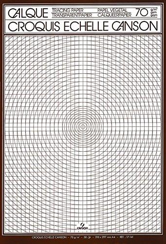 Canson Calque Satin Croquis échelle 200017141 Papier calque A4 21 x 29,7 cm Translucide