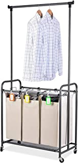 XCSOURCE Laundry Sorter with Hanging Bar Laundry Hamper Sorter Cart Laundry Trolley Laundry Cart Sorter with Rod Hanging Bar, 3 Durable Detachable Oxford Bags Metal Frame Capacity 130 L(Beige)