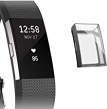 M.G.R.J® Case for Fitbit Charge 2, Soft TPU Clear Cover for Fitbit Charge 2 with Full Protection (Black)