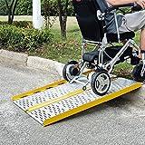 JLXJ Rampas Plegable Aluminio Rampas para Sillas de Ruedas Rampas de Umbral, Rampa para Discapacitados Ligera y Portátil de 60cm para Scooter de Movilidad, Bicicleta, Uso de Escaleras de Casa