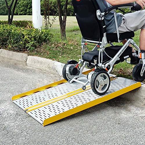 JLXJ Rampe Falten Aluminium Rollstuhlrampen Schwellenrampen, 60cm Tragbare Leichte Handicap-Rampe für Mobllity Scooter, Fahrrad, Haupttreppenstufen Verwenden (Size : 60cm(2ft))