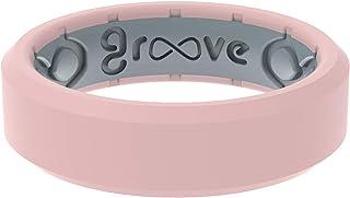 Groove Life سيليكون خاتم زفاف للنساء - خواتم مطاطية مسامية للنساء، تغطية مدى الحياة، تصميم فريد، خاتم نسائي مريح - حافة رفيعة