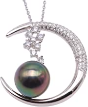 JYX Pearl AAA Quality 11.5mm Genuine Black Tahitian South Sea Cultured Pearl Pendant Necklace for Women