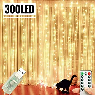 LoveNite Curtain String Lights 300 LED USB Window String Fairy Lights with Remote for Christmas Wedding Party Indoor Outdoor Home Decor (300LED, Warm White)