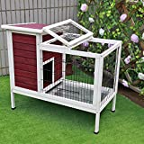 Petsfit Wood Rabbit Cage with Deeper Not Leakage Removable Tray, Indoor Bunny Cage with Spacious Space