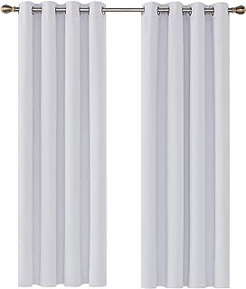 comprar comparacion Deconovo Cortinas Salon Opacas Térmicas Aislantes y Ruido Reducción con Ojales 2 Paneles 135 x 240 cm Gris Blanco