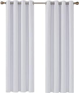 Deconovo Cortinas Opacas Térmicas Aislantes y Ruido Reducción con Ojales 2 Paneles 135 x 240 cm Gris Blanco