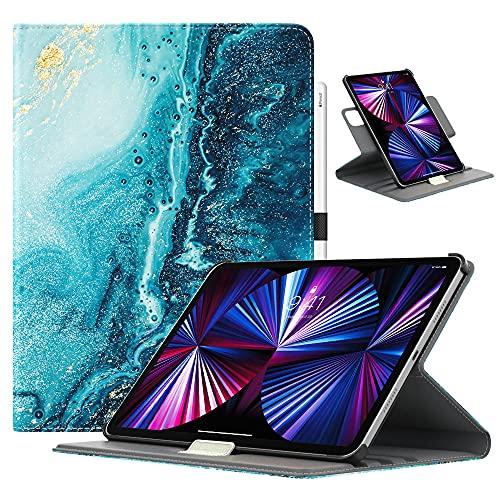 TiMOVO Hülle für New iPad Pro 11 inch 2021 (3rd Gen), PU Lederhülle 90° Drehbar Multi-Winkel Hülle Auto Schlaf/Wach Ständer Kompatibel mit iPad Pro 11