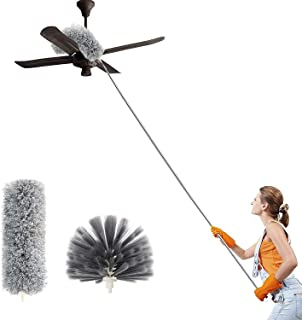 Duster with Extra Long Extension Pole, Microfiber & Domed Cobweb Double Replacement Heads Extendable Dusters, Scratch Resi...