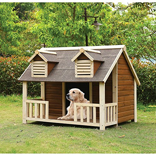Medium Dog House with Porch Pet Puppy Wooden Outdoor Slanted Roof...