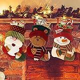 Yideng Medias de Navidad, de 3 pc Personalizada Media de la Navidad de Santa Claus,...