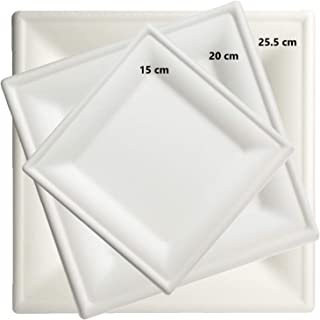 Brheez 10 Inch Heavy Duty Square Plates 100% Natural Sugarcane Biodegradable Compostable Bagasse, Eco-friendly paper alternative - Pack of 60
