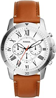 Fossil Men White Dial Leather Band Watch - FS5343