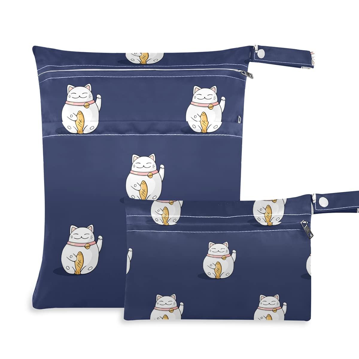 Maneki Super sale period Rapid rise limited Cat Cute Wet Dry Swimsuit Reusable Bag for Diaper