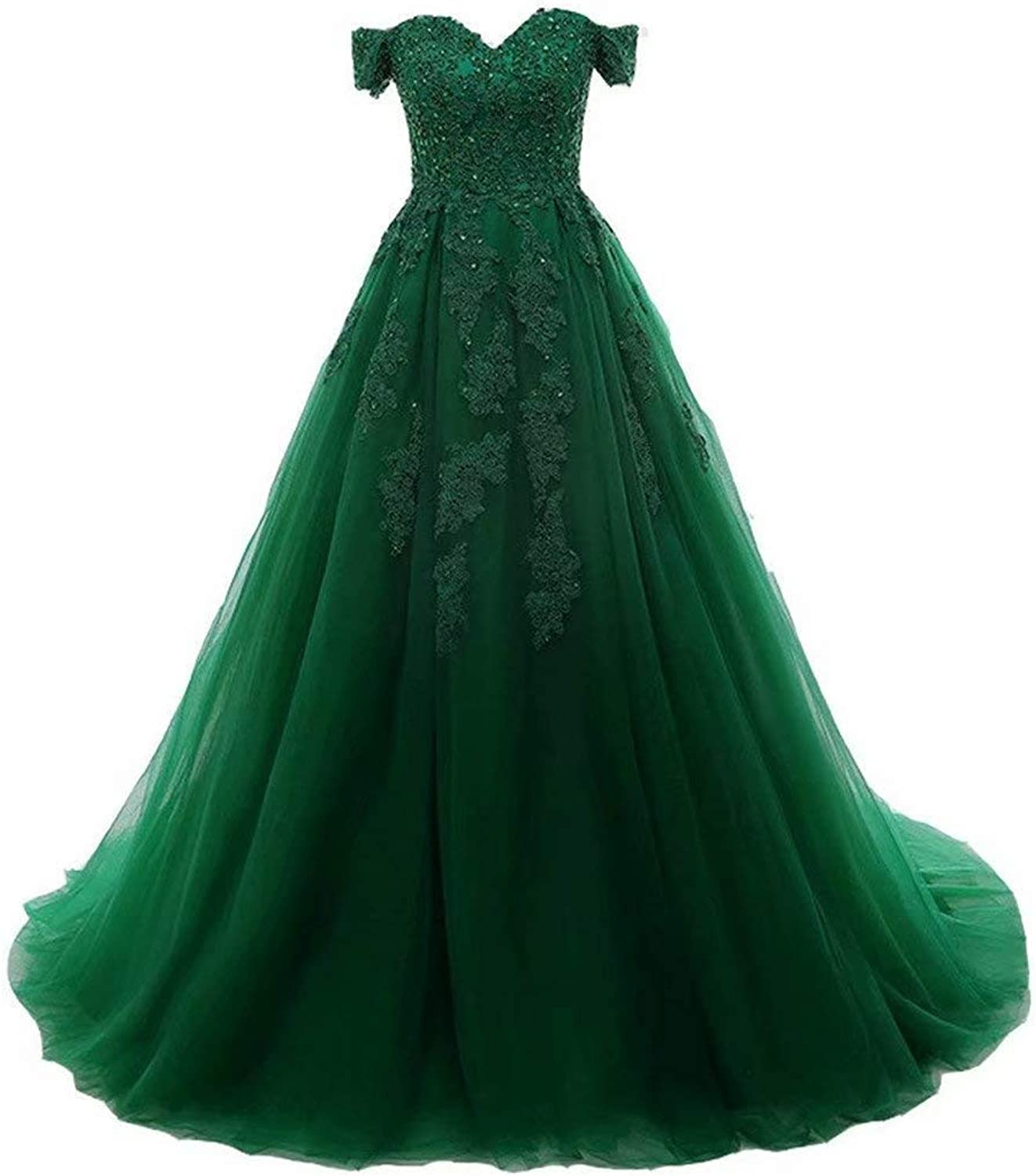 EEFZL Women's Beaded Lace Appliques Prom Dresses Tulle Evening Ball Gowns