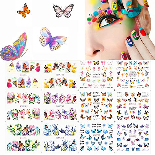 10 PCS Nagelsticker, EBANKU Schmetterling Nagel Sticker Nail Art Sticker Nagelsticker Selbstklebend Kunst Aufkleber Maniküre Deko