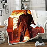 Michael Myers Blanket Horror Movie Throw Blanket Halloween Blankets for Bed Couch Living Room (C,50x60in)