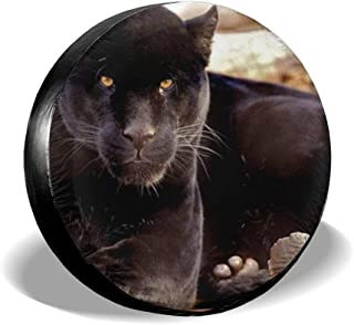 CKLSHzsoa A Black Panther Art Print Spare Tire Cover, Waterproof and Dust-Proof Tire Covers 14 15 16 17 Inch Wheel for RV Jeep Wrangler Trailer Campers