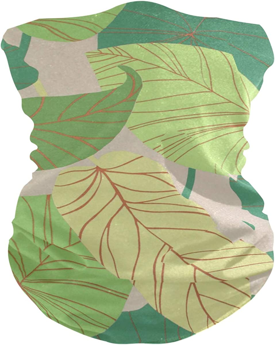 Green Leaves PatternFace Mask Sun UV Protection Bandana Mask Rave Neck Gaiter Balaclava Headwrap Face Cover Scarf
