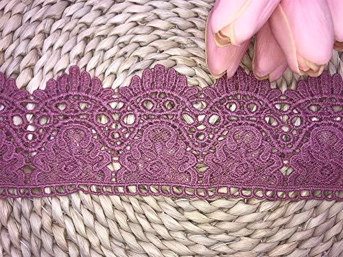 Little Lane Lace Stoffa Larga 9cm con Motivo a Corona Europea Inelastica con Ricamo Pizzo, per Tende, Tovaglie, Fodere, Abiti da Sposa Fai-da-Te/Accessori.(2 Iarde in Ogni Confezione) (Light Purple)