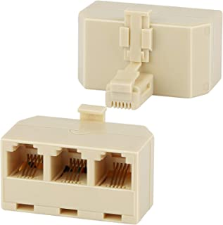Three Way Telephone Splitters, Uvital Male 1 to 3 Female Converter Cable RJ11 6P4C Telephone Adaptor and Separator for Lan...