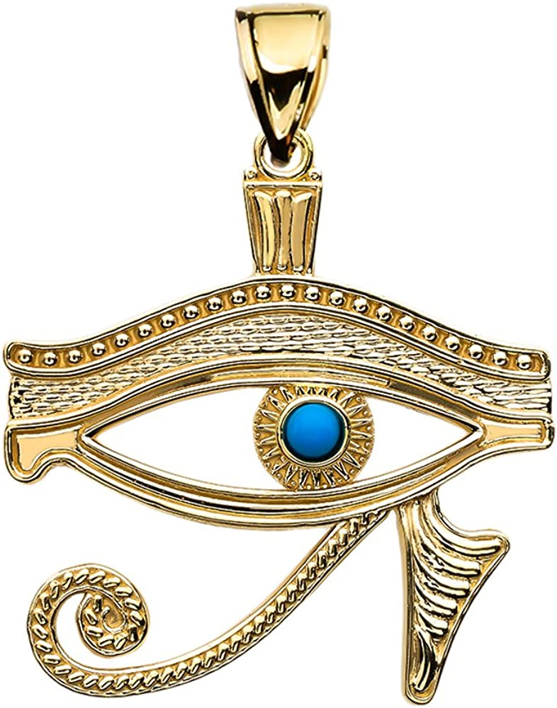 10k Yellow Gold Egyptian Blue Eye of Horus Pendant