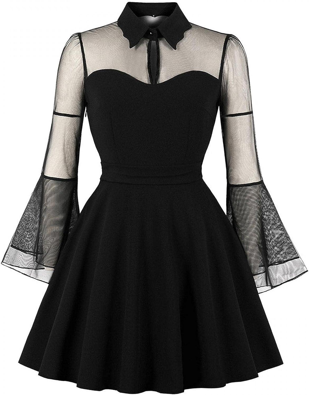 ManxiVoo Women's Keyhole Lapel Collar Mesh Bell Sleeve Swing Cocktail Dress Vintage Flare Sleeve Gothic Dress