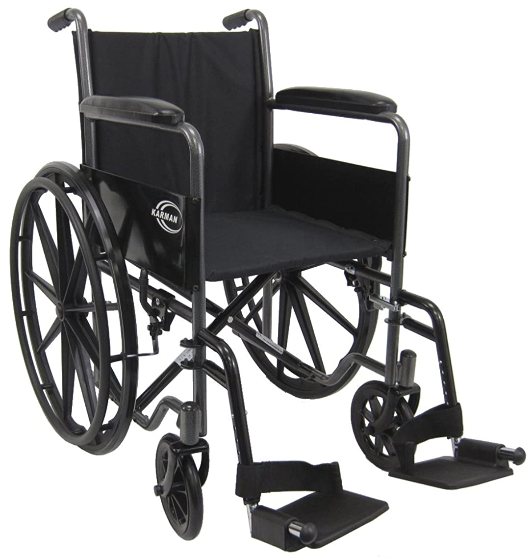 Karman Lightweight Wheelchair with Removable footrest, 18 inches