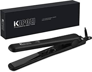 KIPOZI Pro Flat Iron Hair Straightener with Ceramic Plates & Adjustable Temp - Straightens & Curls All Hair Types Anti frizz, 1 Inch Dual Voltage for Travel, Auto Off, Black