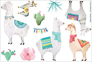 Cute and Colorful Llama and Cactus Sticker Sheets - 2 Sheets of 5x7 Inches Totaling 20 Small Stickers