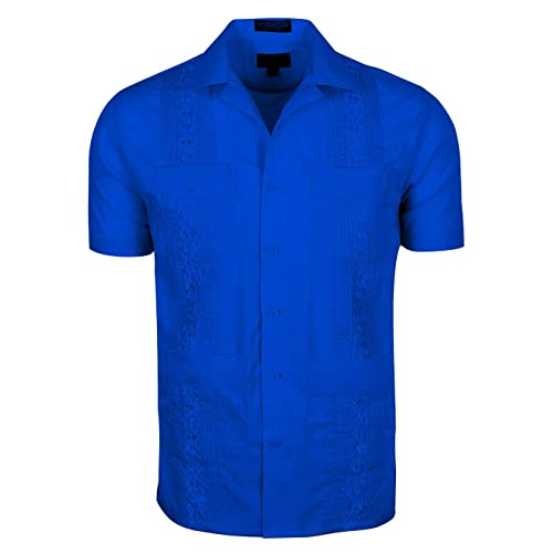 6b04a696fea00 Volcan Men's Short Sleeve Cuban Guayabera Shirts (L, GUA01-Royal)