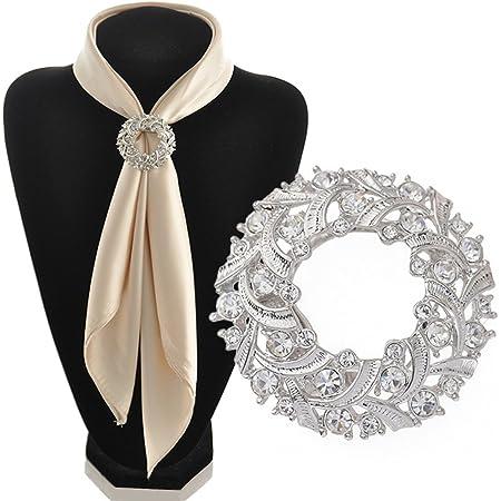 Gemini_Mall, fermaglio elegante per sciarpa, spilla ad anello in tonalità argento, per sciarpa o foulard di seta