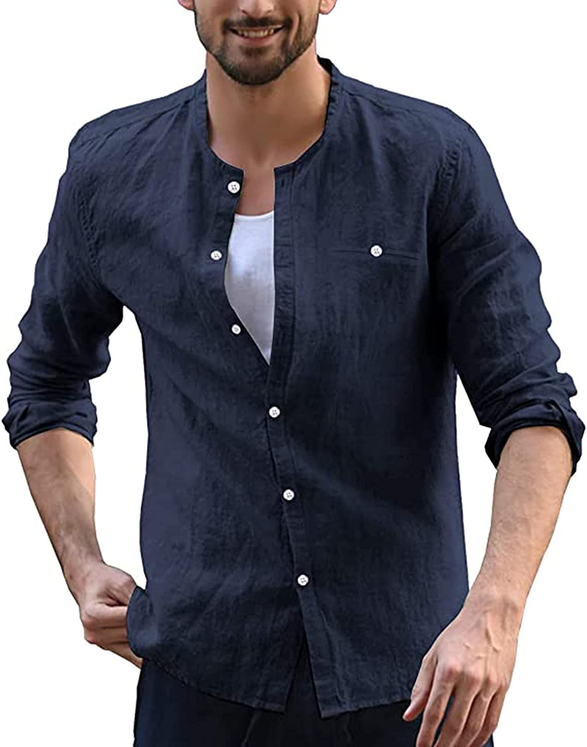 Mens Casual T-Shirt Long Sleeve Linen Button Down Solid V Neck Classic Slim-fit Tees Jacket Outdoor Hiking Shirt