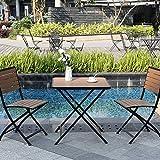 kaige Jardín 2 sillas y Plaza Juego de Mesa - WoodenMetal Plegable Bistro fijado for el hogar/Restaurante/de la Boda/Café/Patio/Cubierta WKY