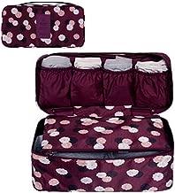 GossipBoy Neceser multiusos, con divisores para almacenar ropa interior, para sujetadores y braguitas, bolsa portátil para viajes, tela, rojo vino, 13x12x26