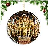 Weekino Saint-Jean-de-Luz Francia Eglise Saint-Jean-Baptiste Decoración de Navidad Árbol de Navidad Adorno Colgante Ciudad Viaje Colección de Recuerdos Porcelana 2.85 Pulgadas