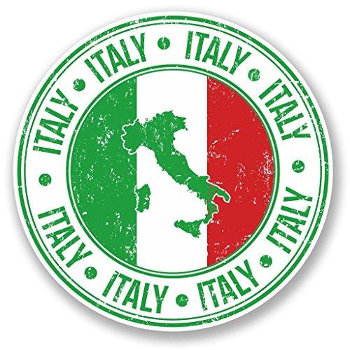 2 x 10cm/100 mm Bandera de Italia Etiqueta autoadhesiva de vinilo adhesivo portátil de viaje equipaje signo coche divertido #5550