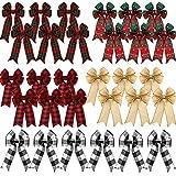 WILLBOND 30 Pièces Nœuds à Carreaux de Noël Nœuds de Décoration d'arbre de Noël Nœuds de Ruban de Couronnes Noeuds de Toile de Flocon de Neige Noeuds Décoratifs de Vacances, 5 x 7 Pouces, 5 Styles