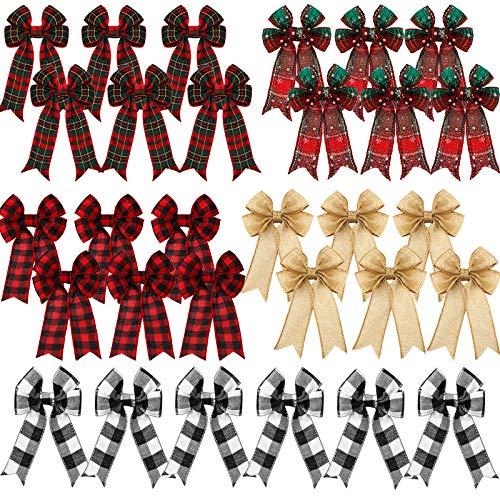 30 Lazos a Cuadros de Navidad Lazo Decorativo de Árbol de Navidad Lazo de Búfalo de Cinta de Corona Lazo de Arpillera de Copo de Nieve de Navidad para Interior Exterior, 5 x 7 Pulgadas, 5 Estilos