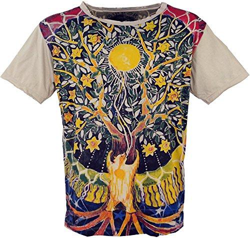 Guru-Boutique Miroir - Camiseta de algodón Arbre de Vie/Beige XL