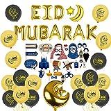Ramadan Mubarak Eid Mubarak Juego de decoración incluye kit de accesorios para cabina de fotos globos de aluminio globo de látex perfecto para decoraciones de fiesta Ramadán Suministros